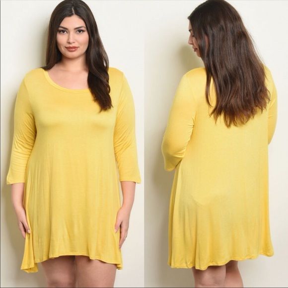 PLUS SIZE Yellow Tunic Dress Boutique